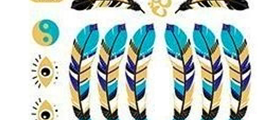 gold feathers temp tattoo | קעקועי זהב נוצות