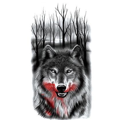 forest wolf head temp tattoo    ראש זאב ביער