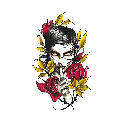 Sexy Woman Flowers temp tattoo | קעקוע זמני אישה פרחים סקסי