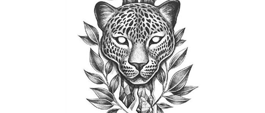 Tiger old school  temp tattoo   נמר שחור