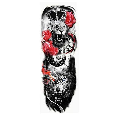 king lion red roze wolf sleeve tattoo | שרוול מלך האריות זאב שעון ורד