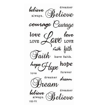Text mix hope dream love believe temp tattoo |  טקסטים