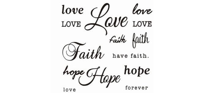 Text mix hope dream love believe temp tattoo    טקסטים