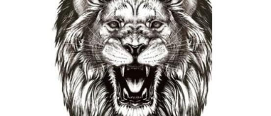 lion black temp tattoo| אריה שואג