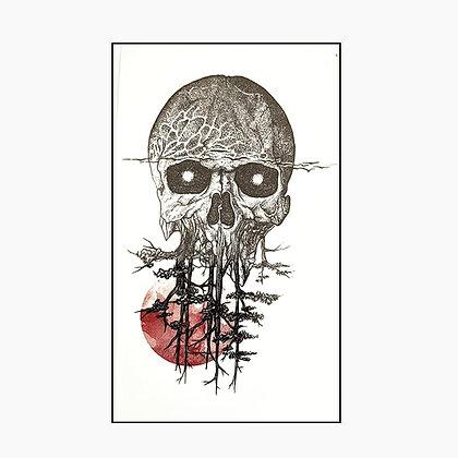 skull trees small tattoo | גולגולת עצים