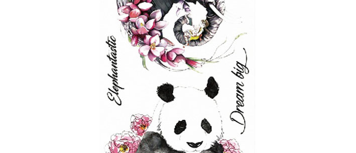 Panda Elephant temp tattoo |  פנדה פיל