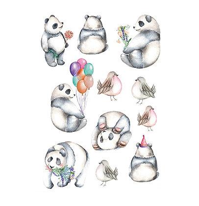 panda mix cute temp tattoo | מיקס פנדה