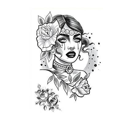 woman  flowers old school temporary tattoo |  פרחים אישה רטרו