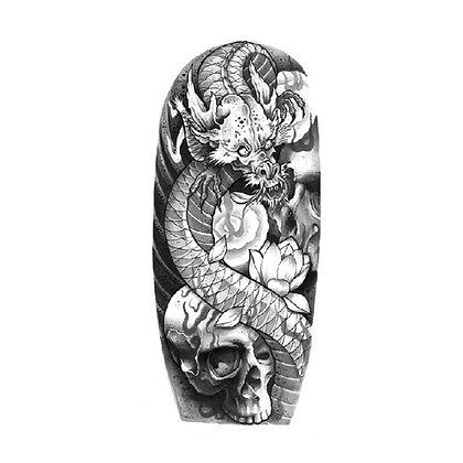 dragon skull temporary tattoo | קעקוע זמני שרוול קטן גולגולת דרקון