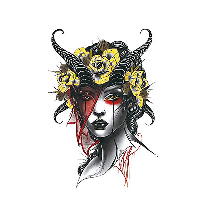 Maleficent sexy horny woman temp tattoo | קעקוע זמני מליפיסנט אישה קרניים סקסי