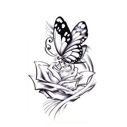 Butterfly and flower temporary tattoo | קעקוע זמני פרפר ופרח