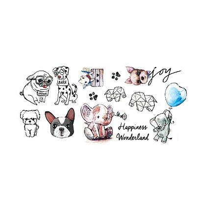 cute animals kids tattoo   חיות חמודות