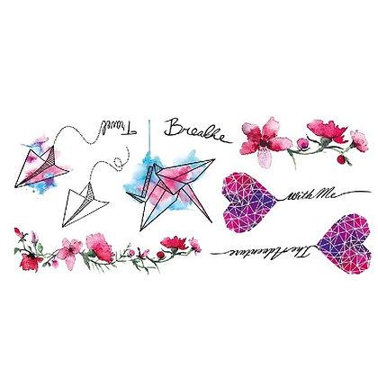 Kite flowers heart temp tattoo |  עפיפון לב פרחים