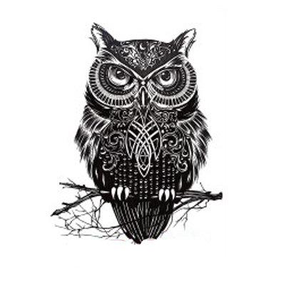 Owl black small temp tattoo /ינשוף שחור קטן