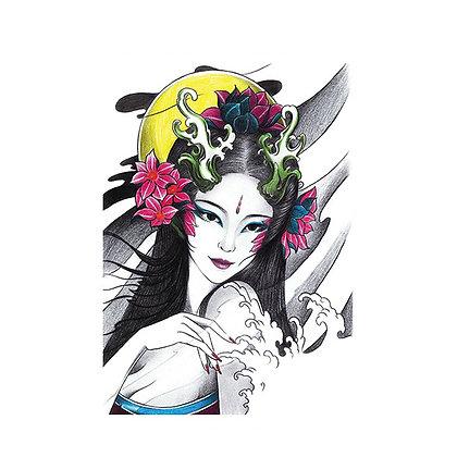 Geisha a beautiful woman temp tattoo | גיישה, אישה , גלים