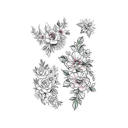mix flower tattoos |  קעקוע זמני פרחים שחורים
