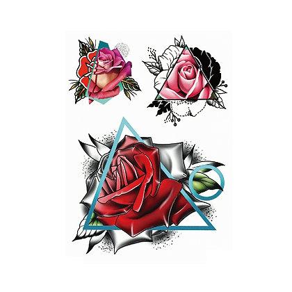 triangular flowers temp tattoo |   1משולשי פרחים