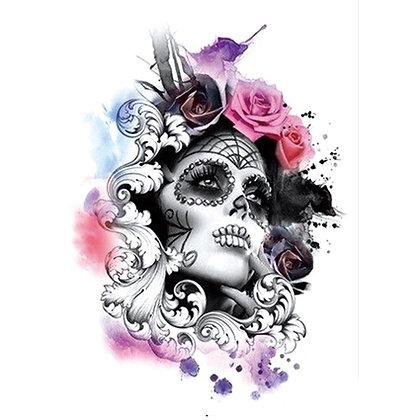 woman flower colors skull temp tattoo |מקסיקנית פרחים