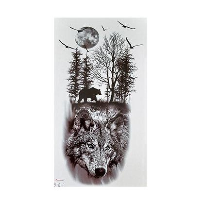 forest wolfs moon temporary tattoo | יער זאבים ירח ציפור