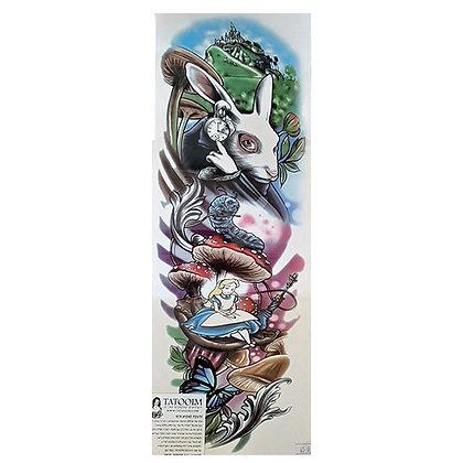 Alice in Wonderland sleeve tattoo | אליס בארץ הפלאות ארנב לבן