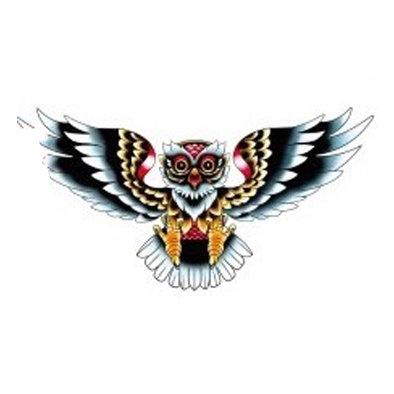 colored owl temp tattoo    ינשוף טרייבל צבעוני לחזה