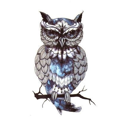 Owl blue big  temp tattoo |  ינשוף גדול