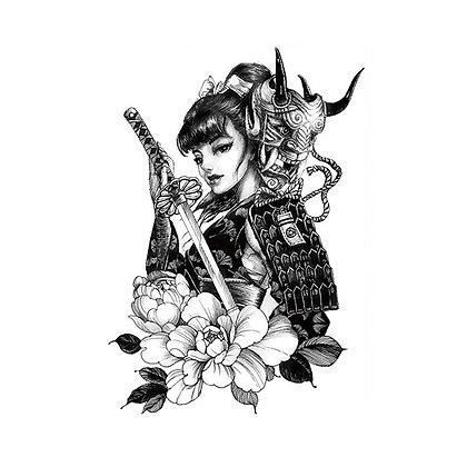 Chinese warrior, sword, asian, woman temp tattoo   לוחמת סינית, חרב, אסיה, אישה