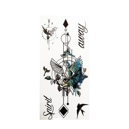 Geometric bird text temporary tattoo | קעקוע זמני גיאומטרי ציפור