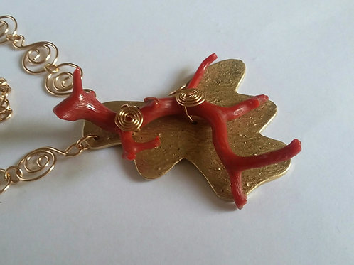 Mediterranean Red Coral Branch and Bronze Focal