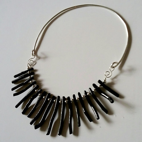 Black Bamboo Coral Bib Necklace