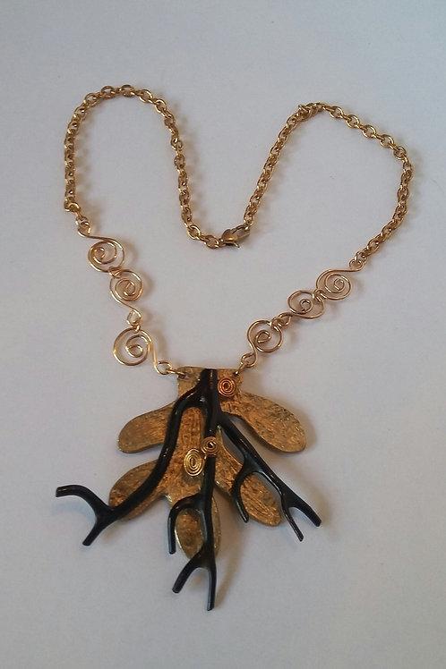 Black Coral Gorgonian Bronze Pendant