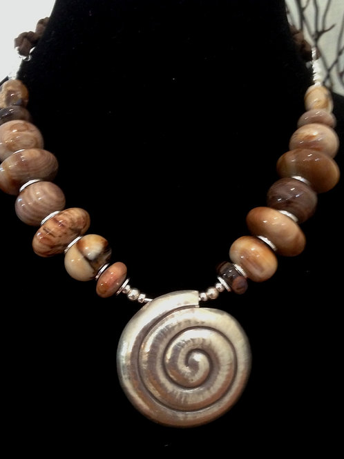 Petrified Wood & Silver Spiral