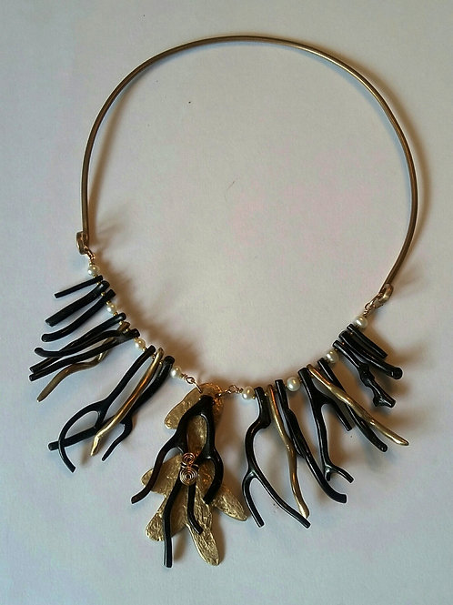 Black Coral Gorgonian Bib Necklace