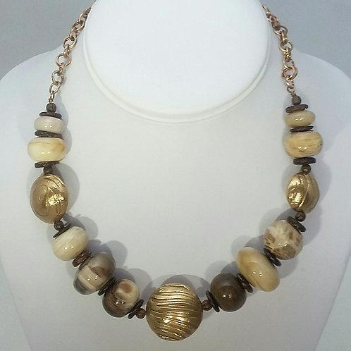 Petrified Wood & 3 Bronze beads