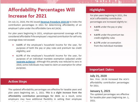 ACA's Affordability Percentage Will Increase for 2021