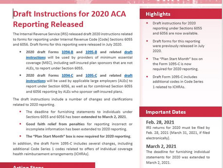 IRS Releases Instructions for 2020 ACA Reporting