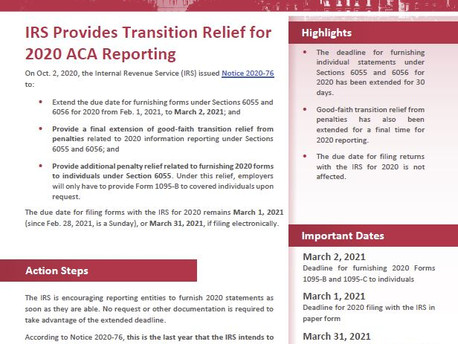 ACA Reporting Relief for 2020
