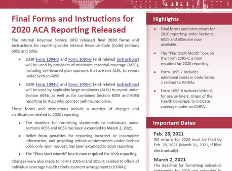 IRS Releases Final Forms and Instructions for 2020 ACA Reporting