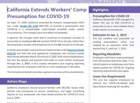 COVID-19: Workers' Compensation Presumption (SB 1159)