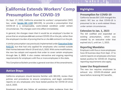 COVID-19: Workers' Compensation Presumption (SB 1159)