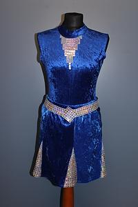 Showtanz Kostüm Samt blau silber zu verkaufen