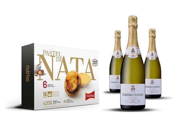 Pastel de nata (x6) ja Ribeiro Santo Bruto (3x75cl)