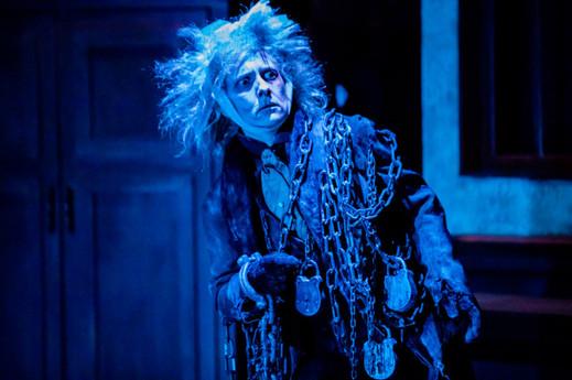 Laura Frye Banovez as Jacob Marley  A Christmas Carol Titan Theatre Company