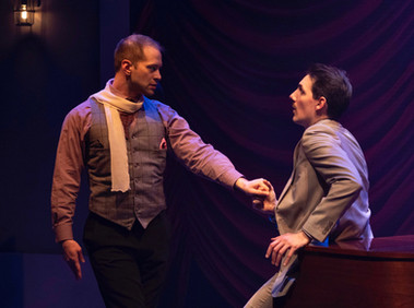 David Corlew as Barrette Lewis and Adam LaSalle as Marcus Moscowicz  Murder For Two Actors Theatre of Indiana 2020      Photo by Ed Stewart