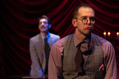 Adam LaSalle as Marcus Moscowicz and Davie Corlew as Dr. Griff  Murder For Two Actors Theatre of Indiana 2020     Photo by Ed Stewart