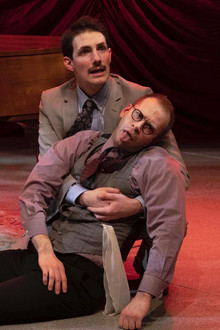 Adam LaSalle as Marcus Moscowicz and David Corlew as Dr. Griff  Murder For Two Actors Theatre of Indiana 2020     Photo by Ed Stewart