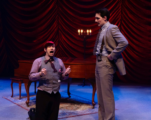 David Corlew as Timmy and Adam LaSalle as Marcus Moscowicz  Murder For Two Actors Theatre of Indiana 2020     Photo by Ed Stewart
