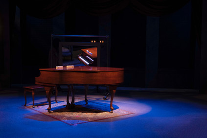 Set by Bernie Killian Lights by Quinten James  Murder For Two Actors Theatre of Indiana 2020     Photo by Ed Stewart