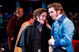 Laura Frye Banovez as Jacob Marley and Benjamin Lohrberg as Young Scrooge  A Christmas Carol Titan Theatre Company