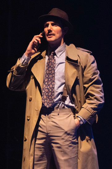 Adam LaSalle as Marcus Moscowicz  Murder For Two Actors Theatre of Indiana 2020      Photo by Ed Stewart
